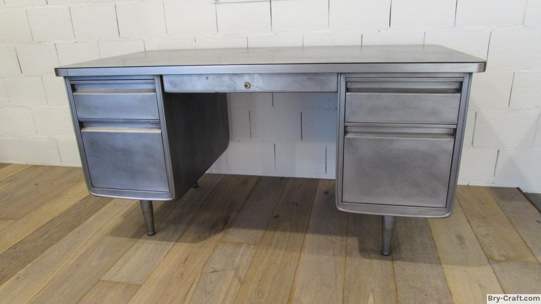 Vintage Brushed Metal Office Desk.