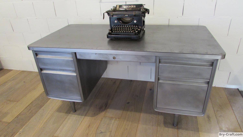 Vintage industrial metal office desk exterior all metal brushed and waxed - Metal office desk ...