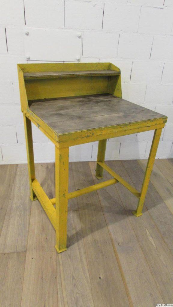 Vintage Industrial desk. - Metal Vintage Industrial Desk As A Very Weathered Look With Oak Worktop.